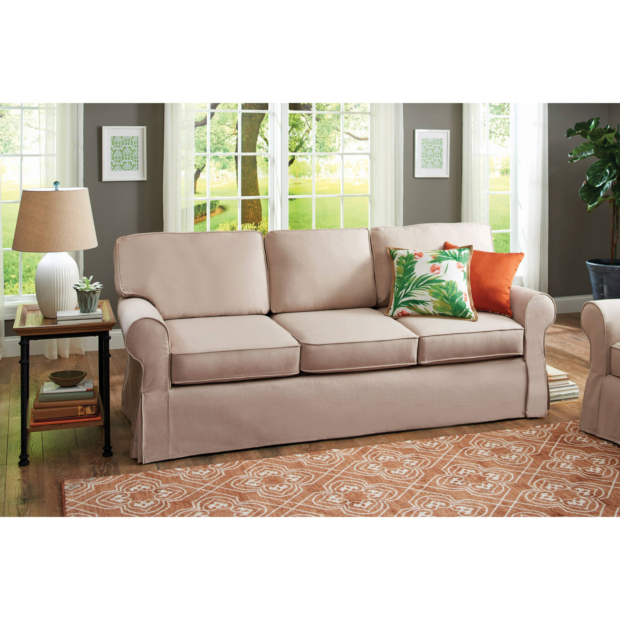 Ashley Daystar Fabric Sofa with Cushions in Seafoam Walmart