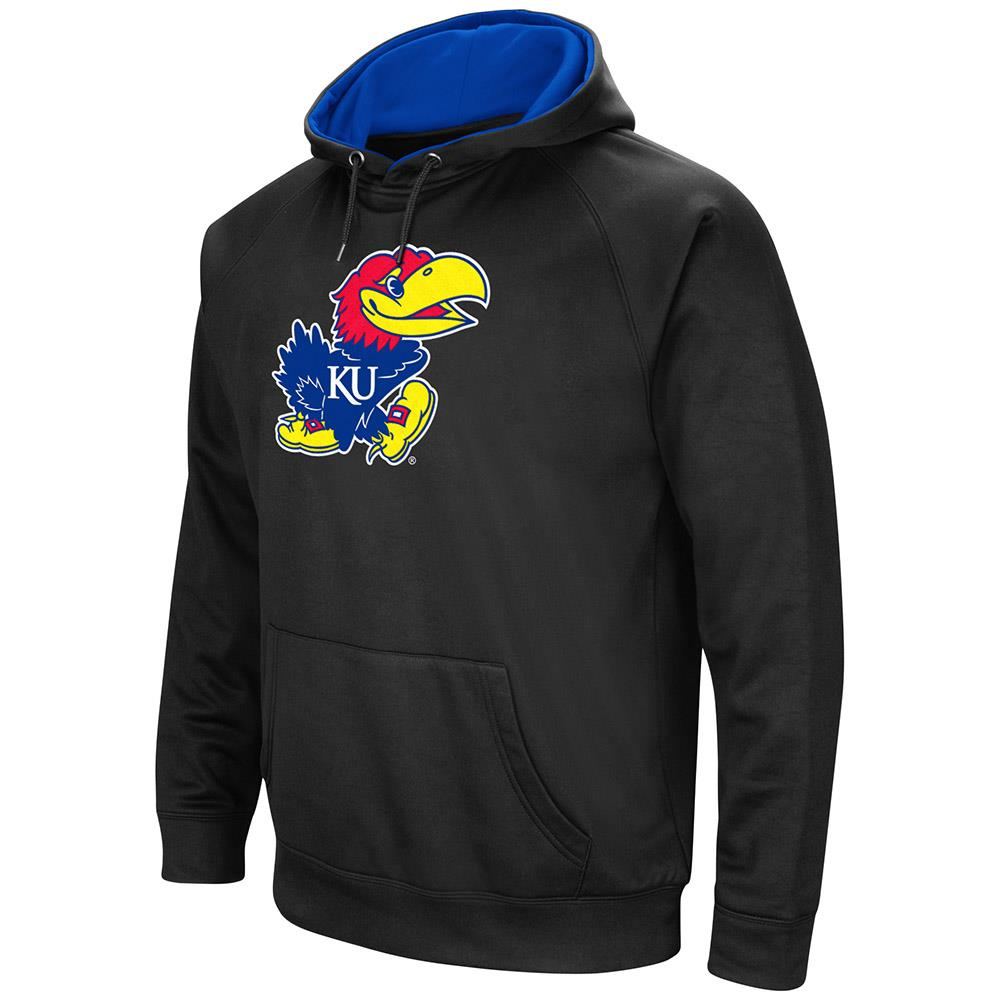 Mens Kansas Jayhawks Black Pull-over Hoodie by Colosseum
