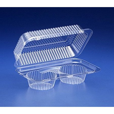 Inline 2-Cup Compartment Clear Plastic Large Muffin Cupcake Bakery Container (pack of 20)