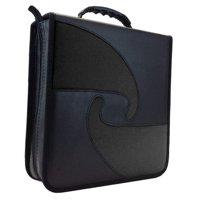 ILogic Black Vinyl PU Leather 240 Capacity Compact Disc CD DVD Blu-Ray Nylon Media Wallet Folder Red, Blue, or Green Trim - Weatherproof