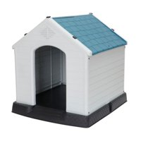 Plastic Indoor Outdoor Dog House Small to Medium Pet All Weather Doghouse Puppy Shelter White, Blue Roof