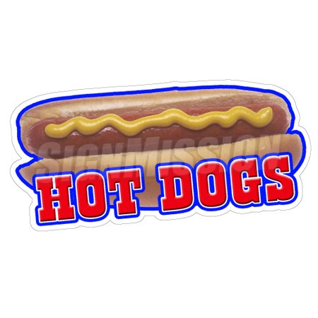 HOT DOGS II Concession Decal sign dog vendor cart trailer stand sticker](Concessions Stand)