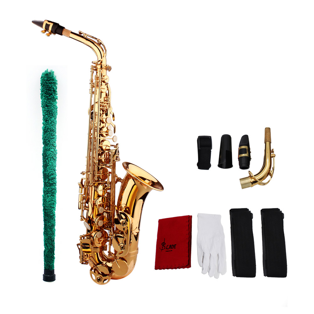 KKmoom Saxophone Sax Eb Be Alto E Flat Brass Carved Pattern on Surface Plastic Mouthpiece Exquisite