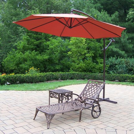 Oakland Living Mississippi Cast Aluminum Chaise Lounge with Side Table and Cantilever Umbrella