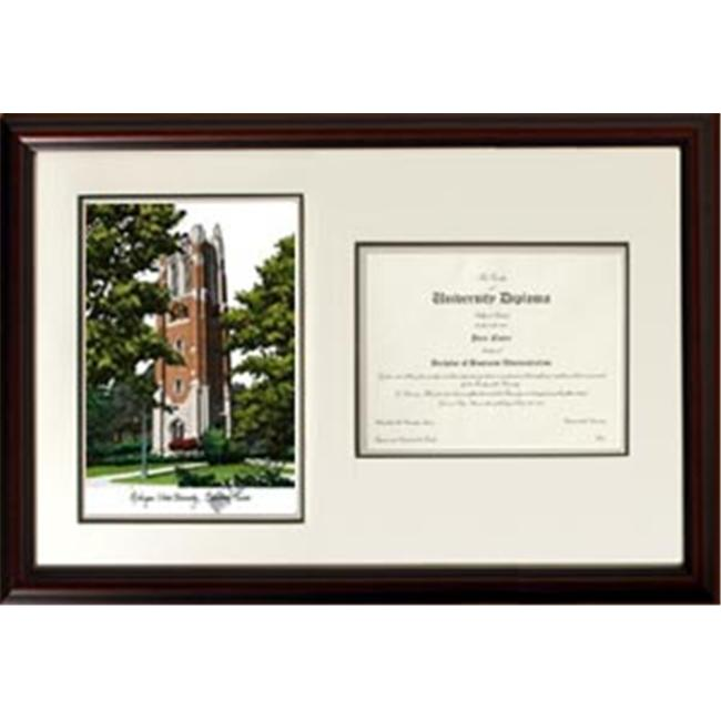 Campus Images MI989V 18'' x 24'' Michigan State University Beaumont Tower Scholar Lithograph Frame