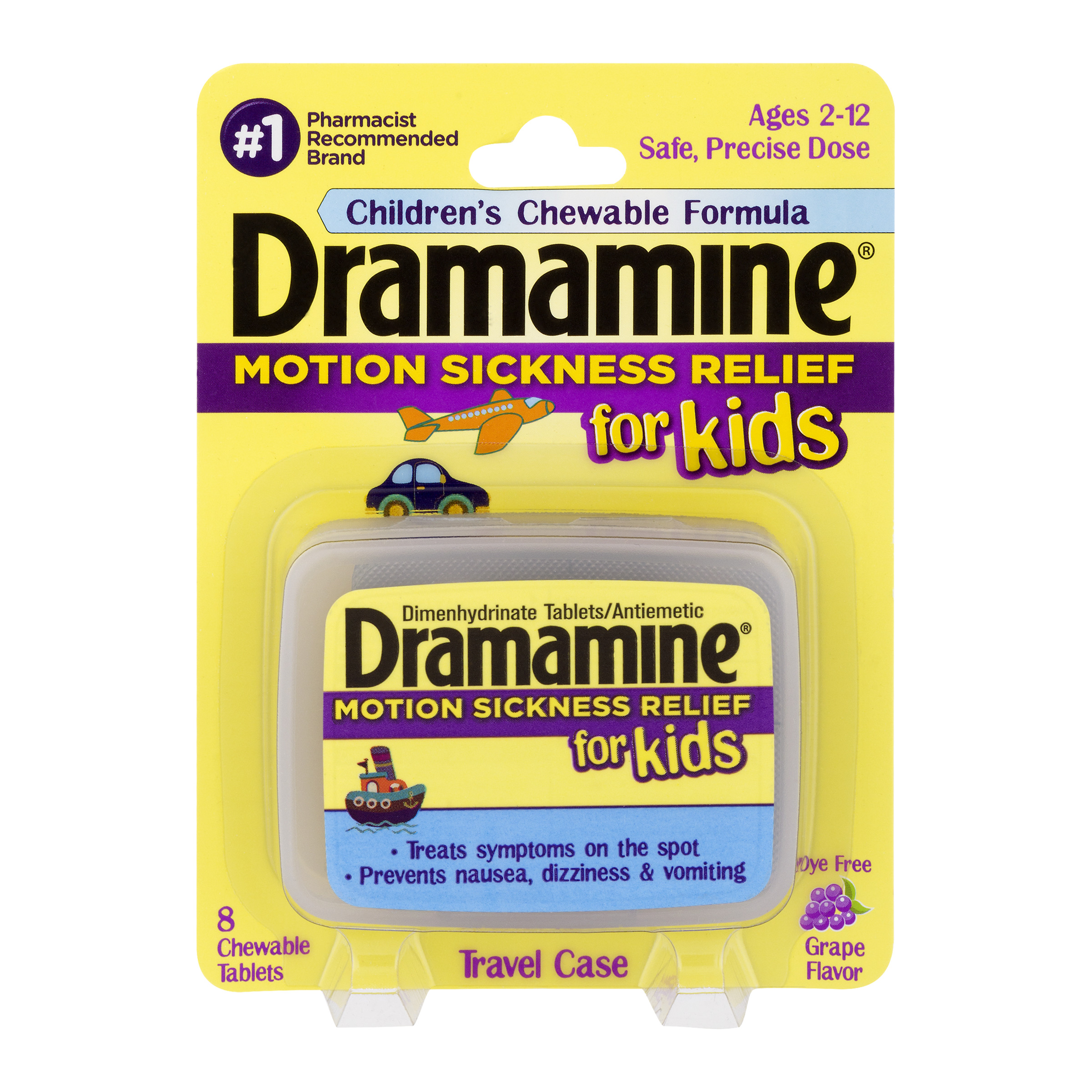 Dramamine Chewable Tablets for Kids, Grape, 8 Ct