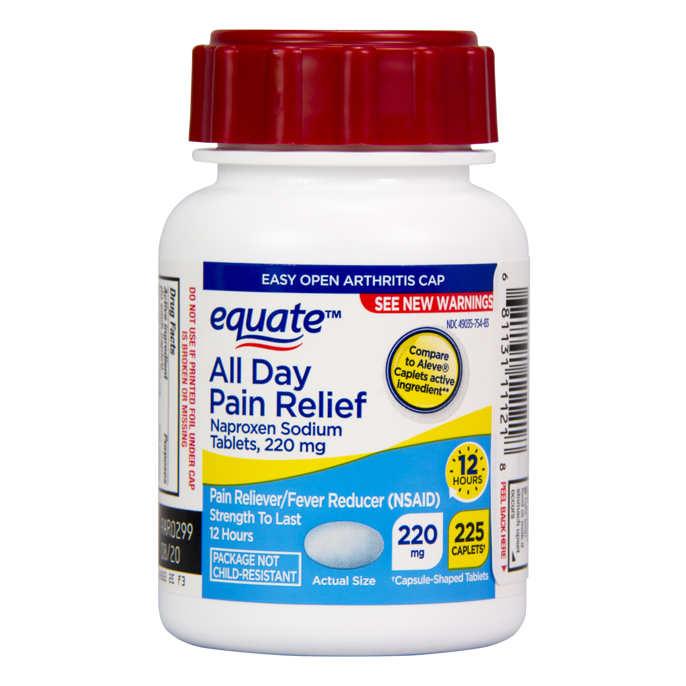 Equate All Day Pain Relief Naproxen Sodium Tablets, 220mg, 225 Ct