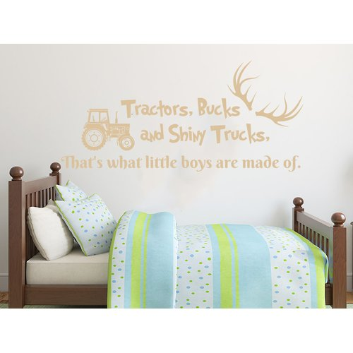 Zoomie Kids Howells Quote Tractors Bucks and Shiny Trucks Deer Antlers Car Wall Decal