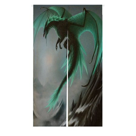 GCKG Flying Dragon Pattern Doorway Curtain Japanese Noren Curtains Door Curtain Entrance Curtain Size - Dragon Door