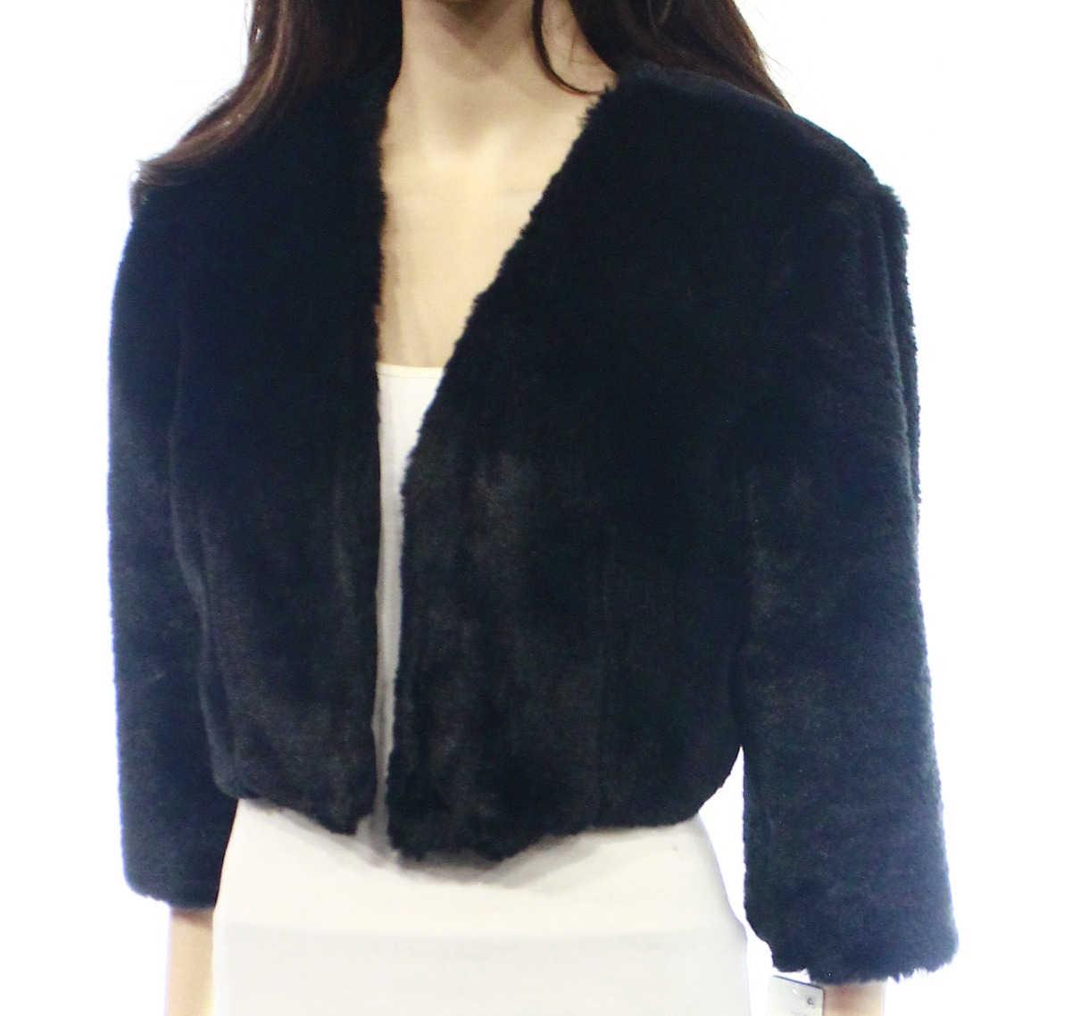 SLNY NEW Black Faux-Fur Cropped Jacket Women's Large L Bolero Shrug