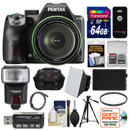 Pentax K-70 All Weather Wi-Fi Digital SLR Camera & 18-135mm WR Lens (Black) with 64GB Card + Case + Flash + Battery + Tripod + Filter + Kit (Pentax Istd Camera)