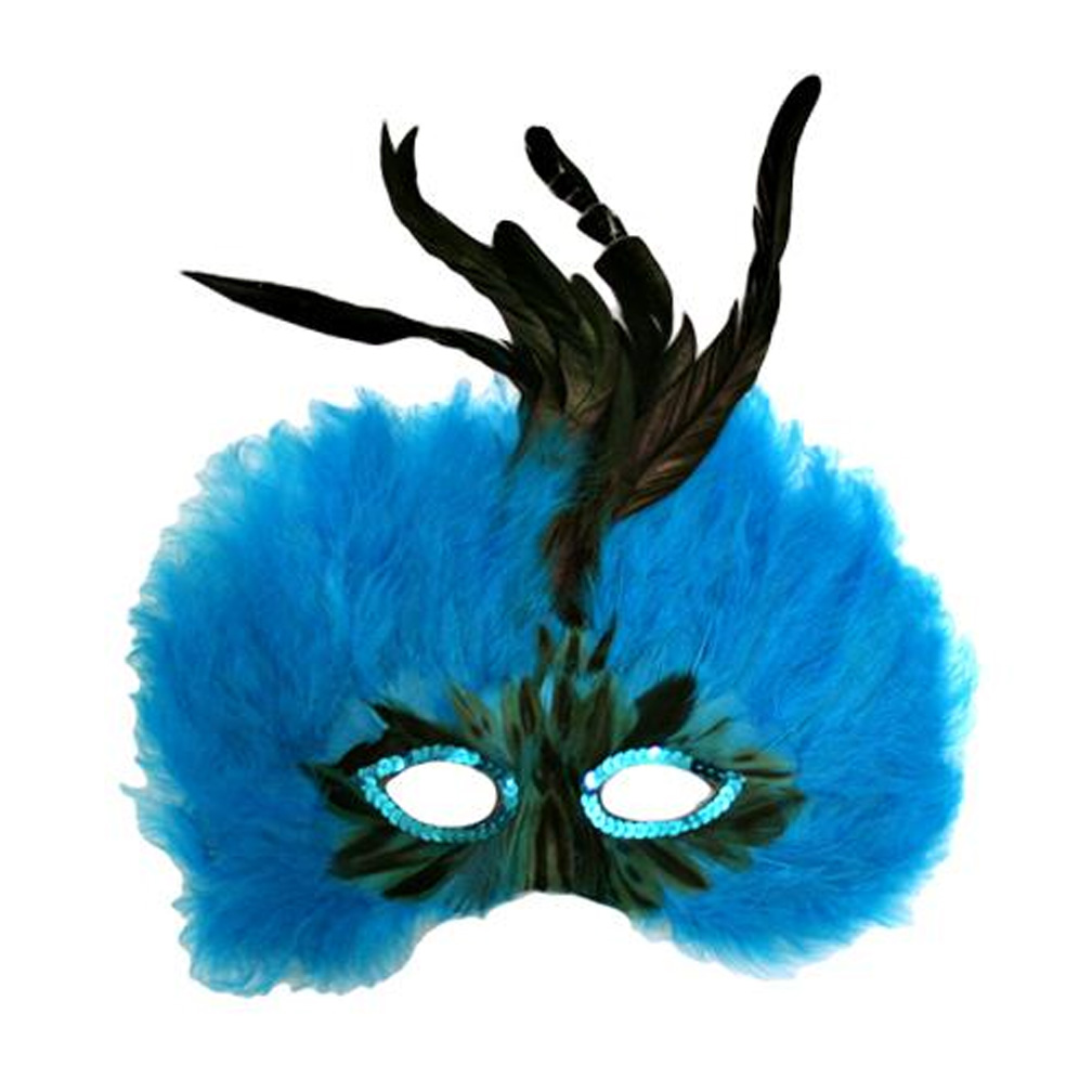 Luxury Divas Vibrant Blue Feathered Mardi Gras Costume Eye Mask