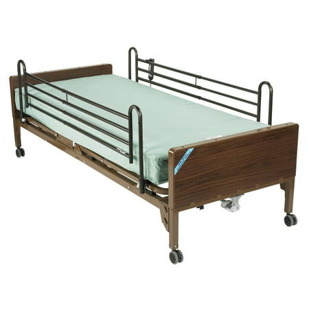 Electric Hospital Bed (Drive Medical Delta Ultra Light Semi Electric Hospital Bed with Full Rails and Innerspring Mattress)