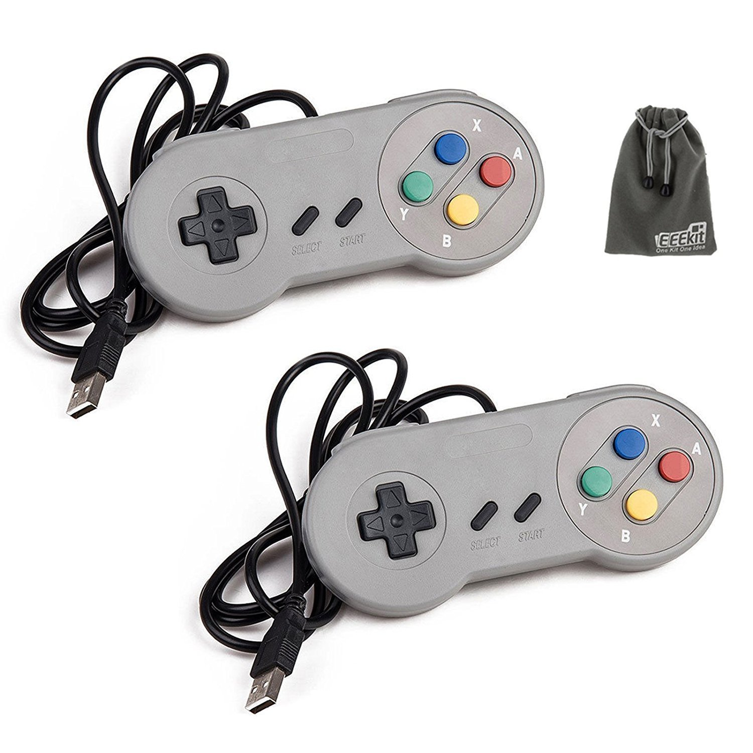 2-pack SNES Retro Classic USB Super Nintendo Games Controller for PC Windows SFC