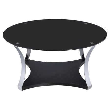 ACME Geiger Coffee Table, Black Glass & Rose Gold for $<!---->