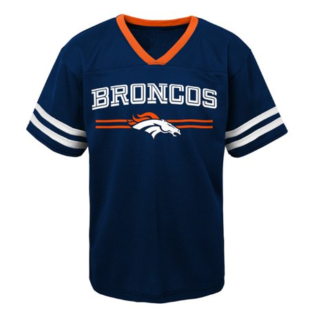 Youth Navy Denver Broncos Mesh V-Neck T-Shirt