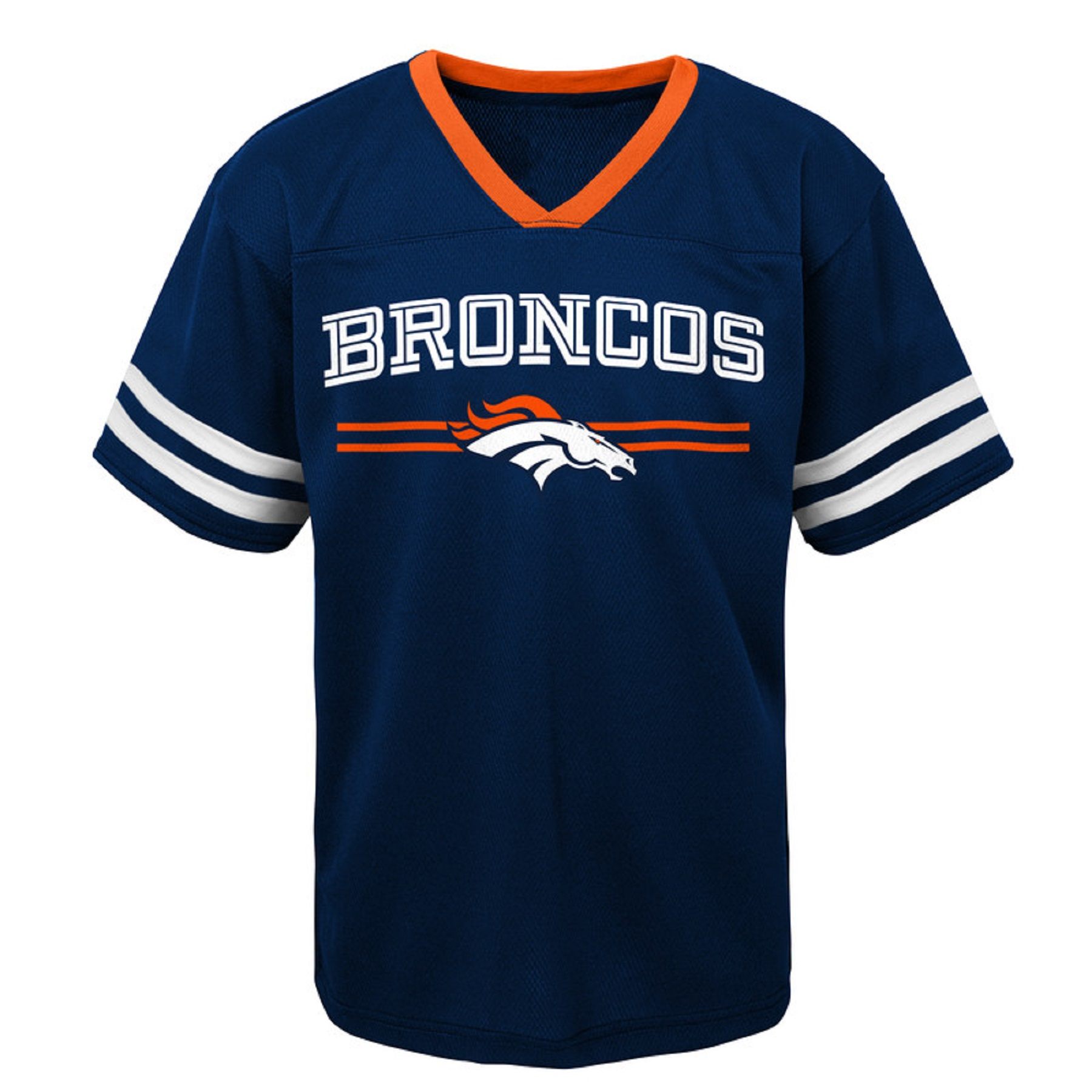 Youth Navy Denver Broncos Mesh V-Neck T-Shirt