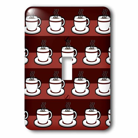 3dRose Coffee Lover Gift - Coffee Cups Print - Red, 2 Plug Outlet Cover
