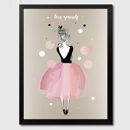 1pcs Lovely Girl Watercolour Canvas Painting Without Frame Poster
