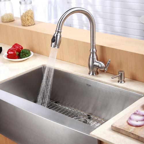 Kraus 29.75'' x 20'' 6 Piece Farmhouse Kitchen Sink Set