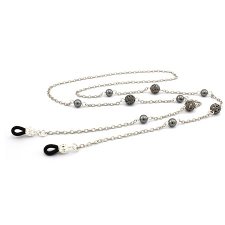 Women's Fashion Eye Glasses Chain Necklace with Silver Filigree Beads and Gray Swarovski Pearls, Fits Most - Bead Chain Necklace