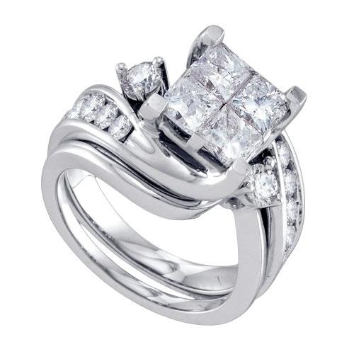 3.00Ctw Diamond Invisible Bridal Set Womens Fixed Ring Size - 7