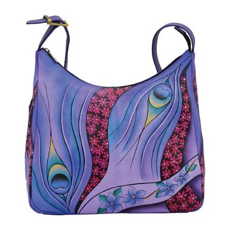a9049d5db6c3 Women's ANNA by Anuschka Hand Painted Leather Large Hobo 7006 Dreamy  Peacock Dewberry OSFA