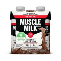 Muscle Milk Genuine Protein Shake, Chocolate, 25g Protein, 11 oz Cartons, 4 Count