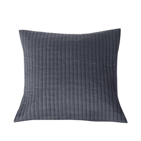 Cotton Stripes Pillow Sham (Kensie Home Gray Single (1) 100% Cotton Euro/Square Size Pillow Sham Quilted Stripe Design 26in x)