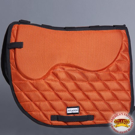 English Saddlebag (311F- HILASON DRESSAGE MEMORY FOAM ENGLISH SADDLE PAD W/ ANTI SLIP BASE - ORANGE )