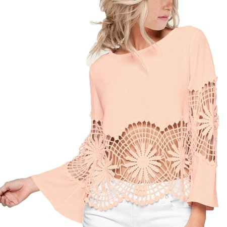 Fashion Boat Neck Top with Open Lace At Front and On Sleeves Solid Back and Trumpet