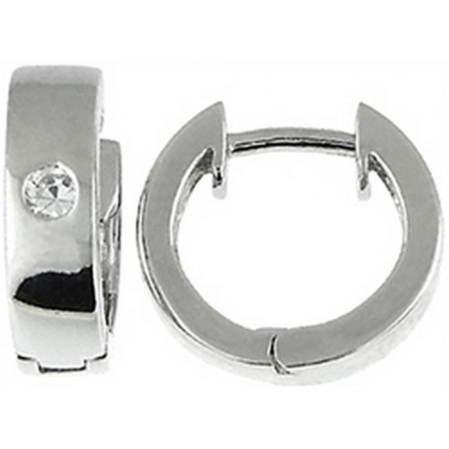 Doma Jewellery DJS02357 Sterling Silver (Rhodium Plated) Hoop Earring with CZ - 13. 5mm in Diameter x 4mm Wide