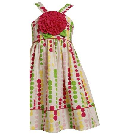 Little Girl 2T-6X White Multicolor Bubble Dot Rosette Applique Woven Dress, Bonnie (Denim Bubble)