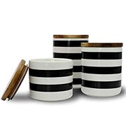 Ceramic Canister Set with Bamboo Lid Perfect Coffee Tea Food Storage Candy Sugar Canisters - Modern Design Porcelain Jar Kitchen Container,Gift for Women,Round White and Black Set of 3