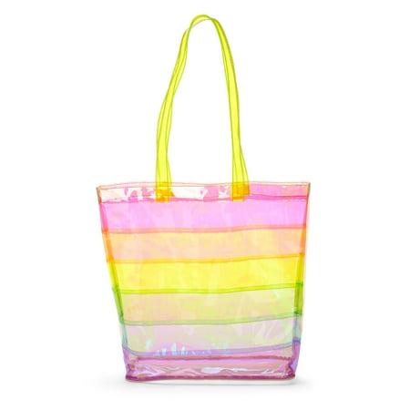 Rainbow Stripe Jelly Tote