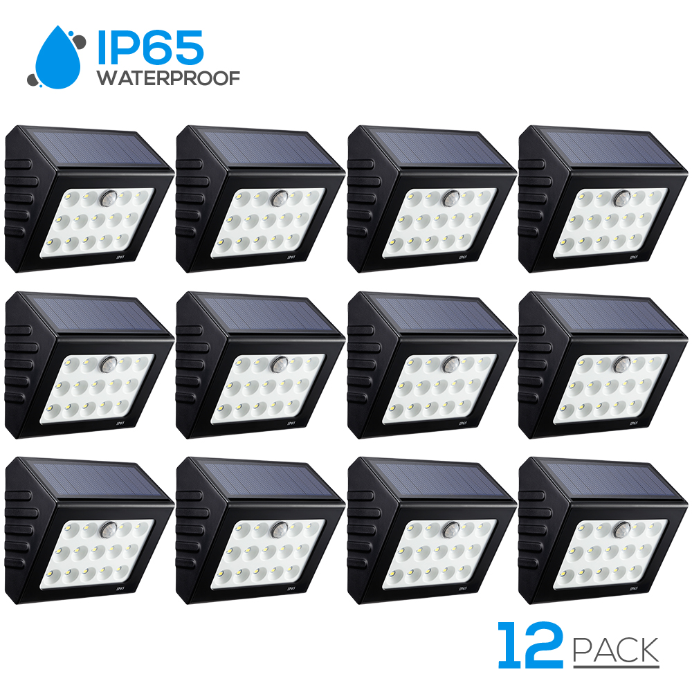 TORCHSTAR 12pacs Patio Solar Lights Outdoor Motion Sensor, 14 LED Wireless Wall Lighting