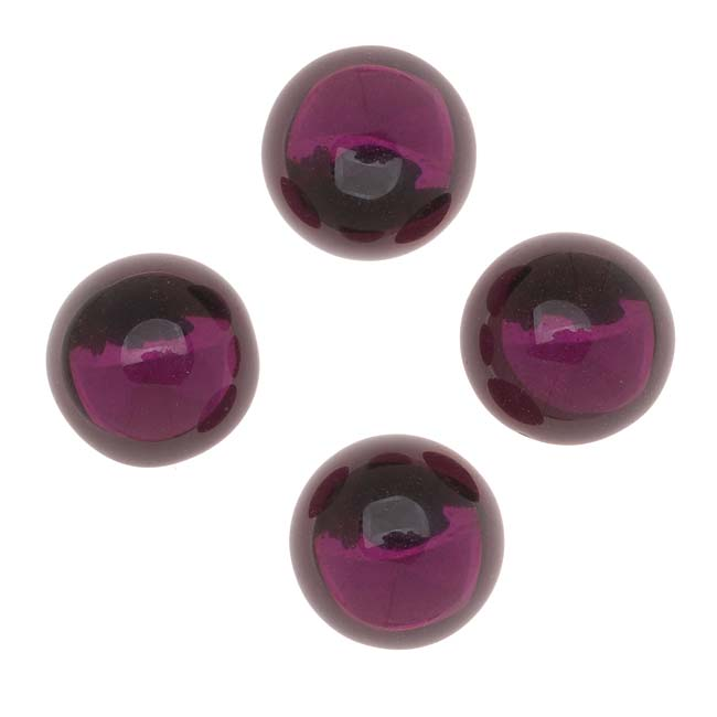Glass Cabochons - 13mm Round - 'Amethyst' Foiled (4 Pieces)