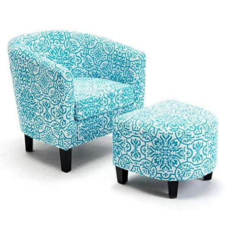 GHP 300-Lbs Capacity Blue Linen Upholstered Barrel Accent Club Chair Ottoman