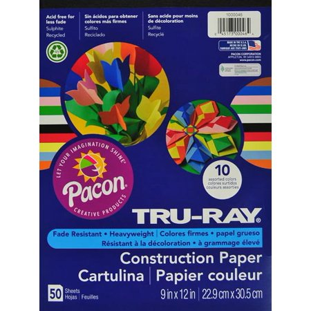 Construction Paper 9x12 Light - Tru-Ray Construction Paper, 10 Assorted Colors, 9