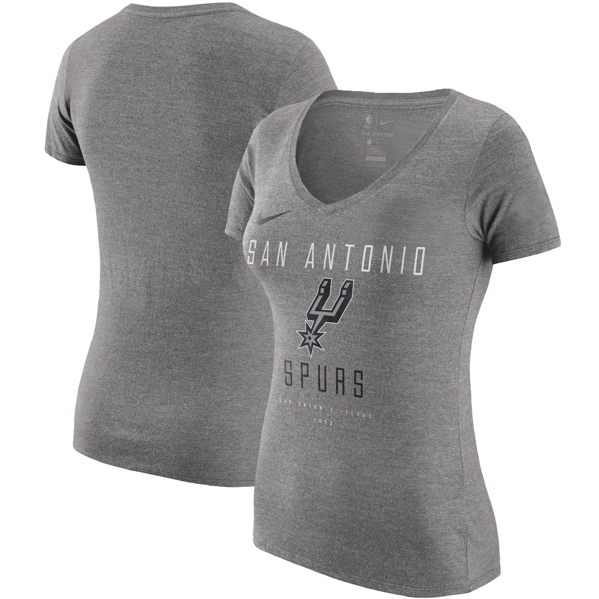 San Antonio Spurs Nike Women's Wordmark Logo Slub Performance V-Neck T-Shirt - Dark Gray