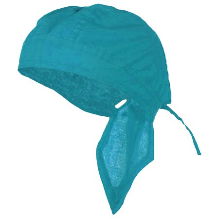 Aqua-Teal Blue Doo Rag Durag Chemo Headwrap Solid Color Bandana Cotton Skull Cap Mens Womens