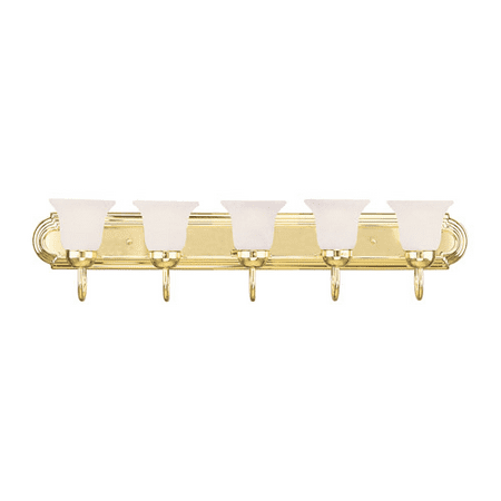 - Bathroom Vanity 5 Light With White Alabaster Glass Polished Brass size 36 in 500 Watts - World of Crystal