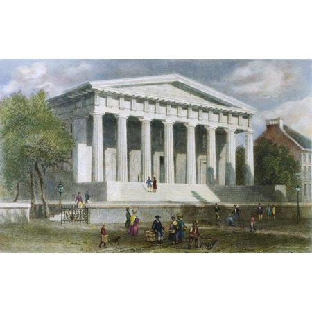 Second Bank Of Us Nthe Second Bank Of The United States On Lower Chestnut Street Philadelphia Colored Engraving 1839 After William Henry Bartlett Rolled Canvas Art     18 X 24