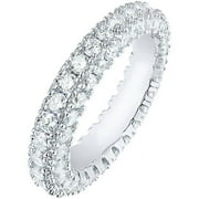 Italian-Cut CZ 18kt White Gold 3-Row Eternity Ring