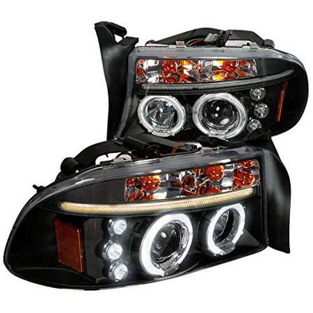 Dual LED Halo Projector Headlight In Black Housing Clear Lens Made For And Compatible With 1997 - 2004 Dodge Dakota Durango 97 98 99 00 01 02 03 04 04 Dodge Dakota Led