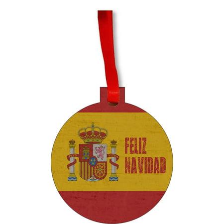 Spain Flag Feliz Navidad Spanish Grunge Round Shaped Flat Hardboard Christmas Ornament Tree Decoration - Unique Modern Novelty Tree Décor Favors - Feliz Navidad Decorations