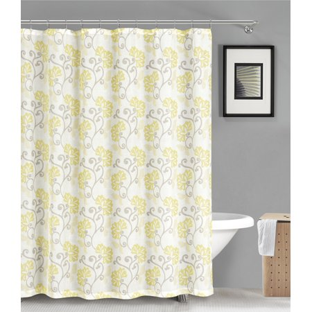 Fabric Shower Curtain Sheer Yellow And Off White Floral Design 70 X 72