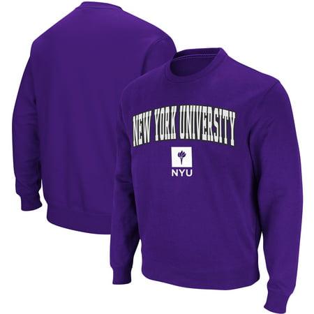 Stadium Crew Sweatshirt - NYU Violets Stadium Athletic Arch & Logo Crew Neck Sweatshirt - Purple