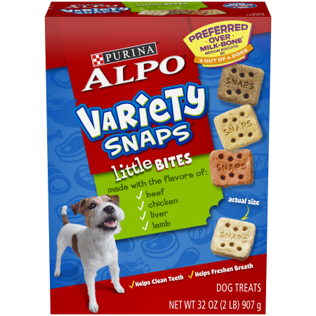purina alpo variety snaps little bites dog treats with beef chicken