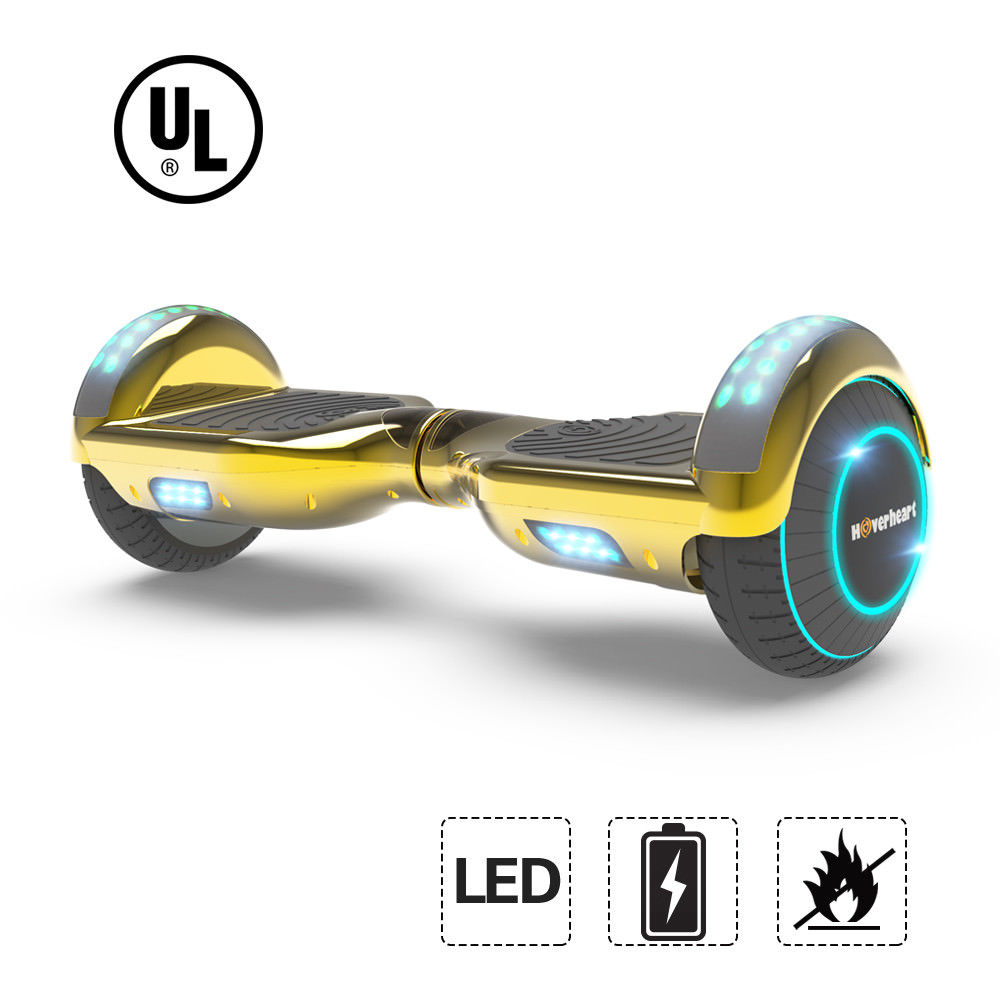 "UL2272 Certified LED 6.5"" Hoverboard Two Wheel Self Balancing Scooter Chrome GOLD"